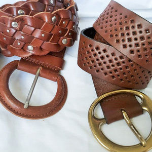 """Old Navy J. Crew Leather M Belt Brown up to 36""""w"""